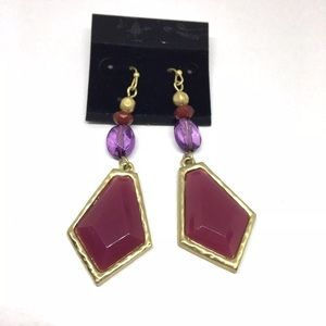 New Chico's Dangle Beaded Earrings Pink Purple